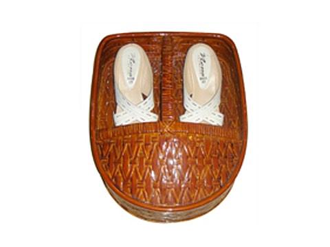 ตะกร้ารองเท้าหวาย+ไม้ไผ่-RTB-10