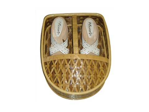 ตะกร้ารองเท้าหวาย+ไม้ไผ่-RTB-9