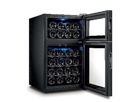 ตู้แช่ไวน์กระจก 2 ประตู 2 ตอน<br>69 ลิตร (24 ขวด)