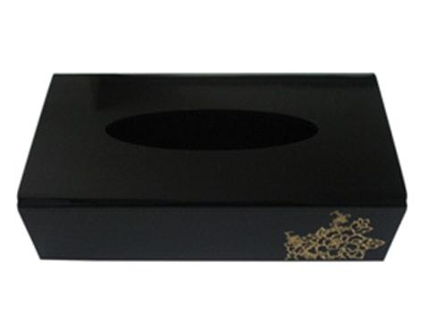 กล่องทิชชู่อะคริลิคดำ-ดอกไม้ทอง-TSB-Flower-Gold